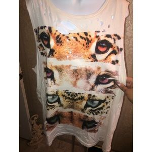 Forever 21 Ripped Tiger Top